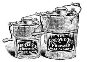 antique ice cream maker, old fashioned ice cream, black and white clipart, vintage advertising, vintage food clipart