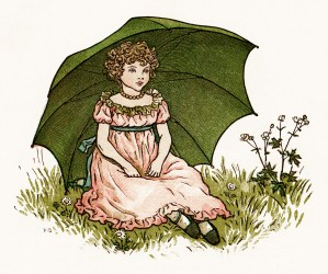 Kate Greenaway, Marigold Garden, little London girl, girl sitting on grass, Victorian girl, girl green umbrella, vintage storybook image