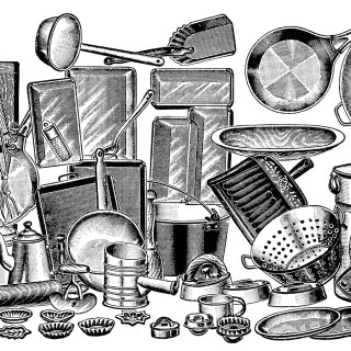 Antique Kitchen Stoveware Assortment ~ Free Catalogue Ad and Clip Art