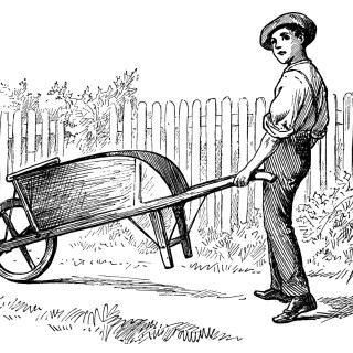 Victorian Boy Pushing Wheelbarrow ~ Vintage Garden Printable