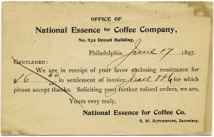 National Essence for Coffee Co, shabby paper ephemera, vintage business postcard graphics, old fashioned office printable, vintage coffee clipart