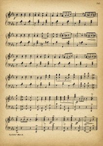 cyclists march, vintage sheet music, old song book page, Victorian bicycle ephemera, Kursheedt music