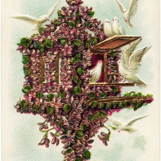 Flower Covered Birdhouse and Doves ~ Free Vintage Postcard Image