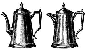 vintage tea pot clip art, coffee pot illustration, old catalogue ad, black and white graphics, vintage kitchen printable
