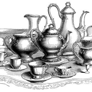 Large Coffee and Tea Set ~ Free Vintage Clip Art