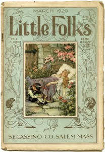 little folks magazine cover, public domain fairy tale, old book page, vintage paper graphics, sleeping beauty image