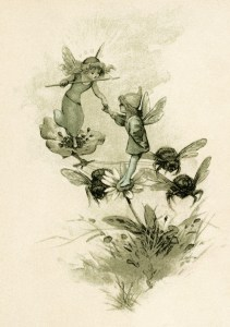 fairy clip art, free children's printable, storybook illustration, vintage fairies and bees image, round robin Hoyer Mack