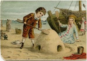 victorian beach scene, children build sand castle, vintage summer clipart, old fashioned beach image, antique printable card kids