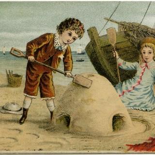 Victorian Beach Scene Card ~ Free Vintage Image