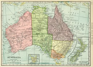 C. S. Hammond map, antique map, history geography Australia, old map free graphics, vintage map Australia New Zealand