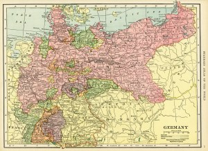 antique map, C. S. Hammond map, history geography Germany, old map free graphics, vintage map Germany