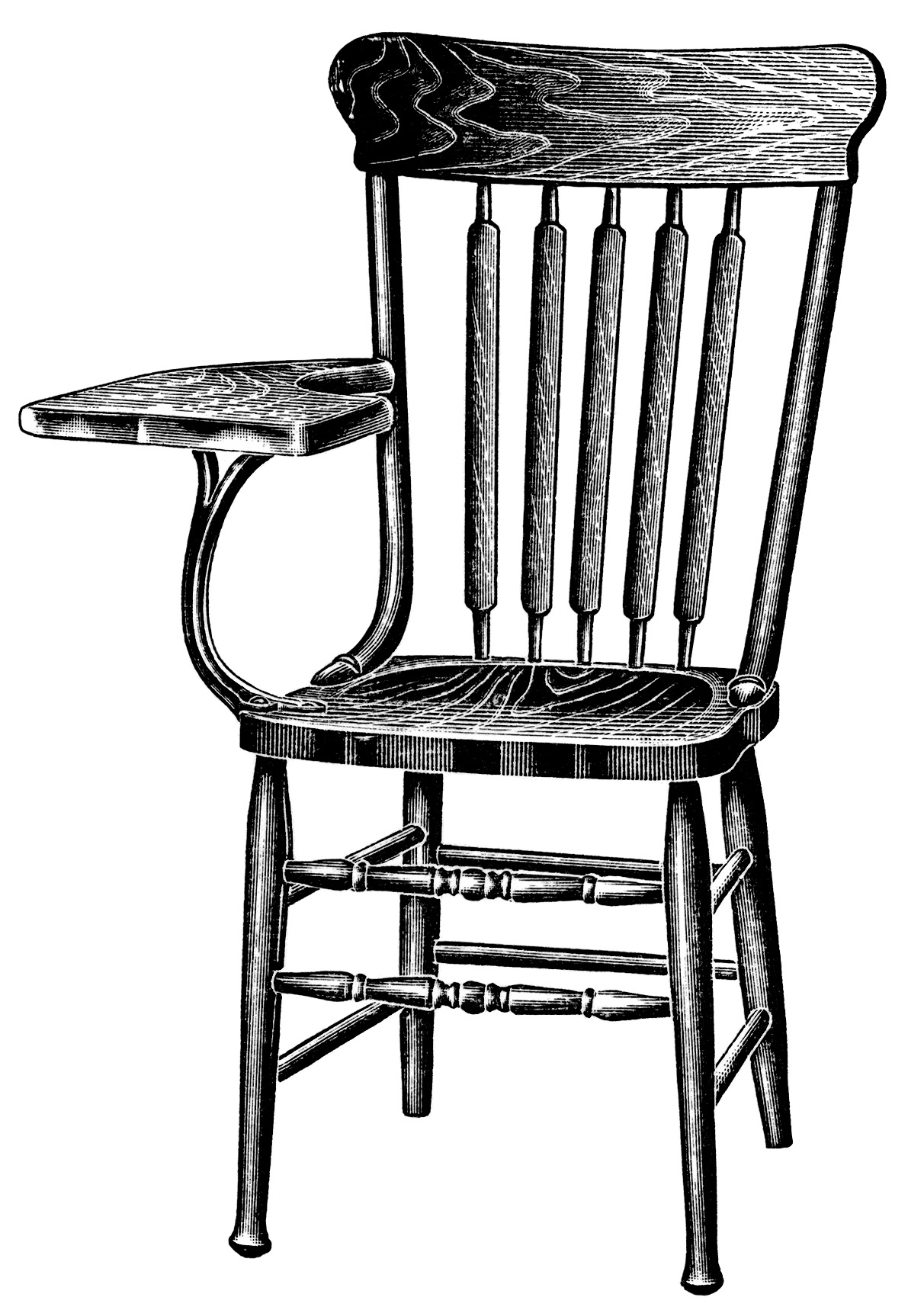 Tablet Arm Chairs ~ Free Vintage Clip Art | Old Design ...
