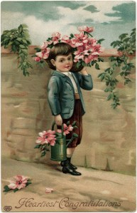 victorian boy clip art, vintage postcard graphics free, heartiest greetings card, old postcard image, antique postcard flowers