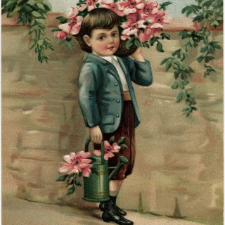 Victorian Boy Carrying Flowers ~ Free Vintage Image