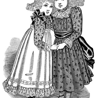 Victorian Girls Fashion ~ Free Vintage Clip Art