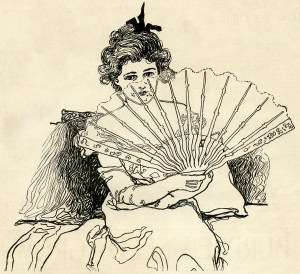 Victorian lady, woman holding fan, black and white clip art, vintage lady clipart