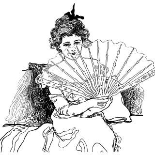 Victorian Lady Holding Fan ~ Free Clip Art