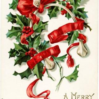 Free Vintage Christmas Wishbone Postcard Image