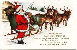 Victorian Christmas postcard, vintage santa clip art, old fashioned Christmas card, santa sleigh reindeer illustration, whitney made Christmas postcard