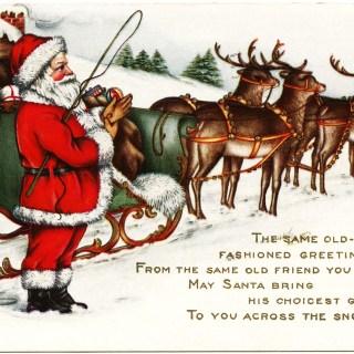 Santa and Reindeer ~ Vintage Christmas Graphic