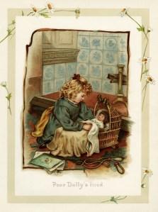 vintage storybook illustration, Victorian girl and doll, sunbeams and me, vintage child printable, sleepy doll clip art