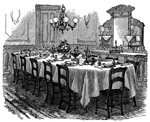 vintage kitchen clip art, black and white graphics, Victorian table setting, formal dining illustration, antique dining room