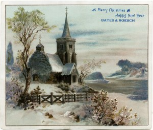 victorian advertising card, vintage Christmas clip art, snowy winter country scene, old fashioned Christmas card, snow covered church illustration, antique trade card