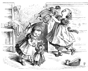 black and white clip art, Oscar pletsch engraving, Victorian girls printable, girls at play vintage clip art, girl and doll illustration