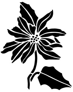 vintage Christmas clip art, poinsettia stencil, black and white graphics, Christmas flower illustration, floral digital stamp