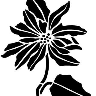 Poinsettia Stencil ~ Free Vintage Clip Art
