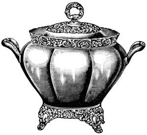 black and white graphics free, vintage kitchen clip art, soup tureen illustration, antique soup stew dishware, covered soup serving bowl