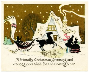 Victorian Christmas card, vintage holiday party graphic, snowy country scene illustration, winter scene clipart, evening Victorian house party