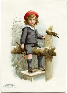Victorian advertising card, vintage trading card, boy in winter clip art, ozone soap, Fairchild Shelton, boy sitting on fence illustration