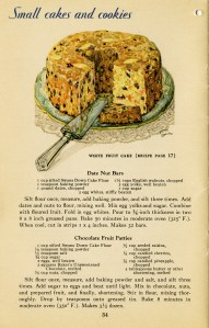 fruit cake picture, vintage fruitcake clip art, baked goods illustration, vintage kitchen graphics, printable cookbook page, old fashioned fruitcake recipe