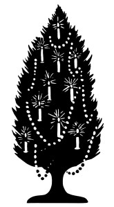 old fashioned Christmas tree, tree decorated with candles, black and white graphics, Christmas tree silhouette, vintage Christmas clip art