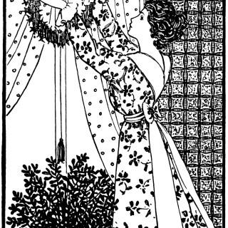 Lady Hanging Wreath ~ Free Vintage Clip Art