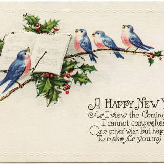 Singing Birds ~ Vintage New Year Postcard