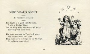New Years Night, Florence Folsom poetry, vintage new year poem, mother and baby clip art, black and white graphics