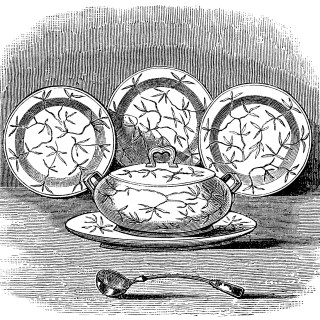Soup Tureen, Ladle and Plates ~ Free Clip Art