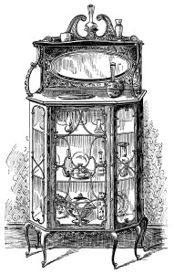 Victorian furniture illustration, black and white graphics, vintage furniture clipart, dining room cabinet clip art, old fashioned china cabinet