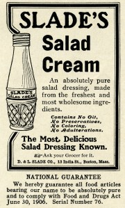 Slade's salad cream, vintage kitchen clip art, vintage magazine advertisement, old fashioned salad dressing, black and white graphics