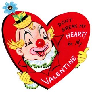 Valentine Clown ~ Free Vintage Clip Art