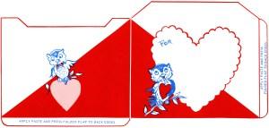 vintage owl valentine clip art, retro valentine envelope, cute owl illustration, printable envelope, red blue owls hearts graphic