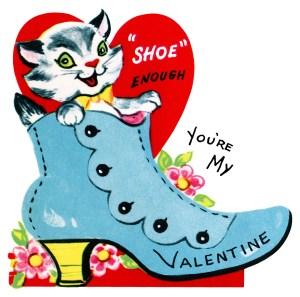 kitten in shoe valentine, vintage valentine clip art, retro valentine card, printable valentines, old fashioned childrens valentine