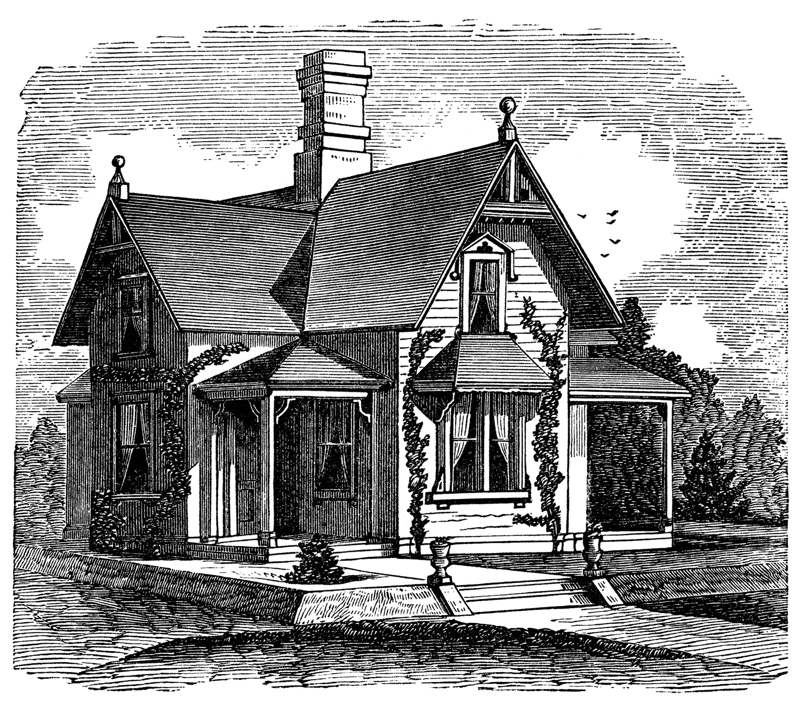 Story and a half victorian home free clip art image for Story and a half house