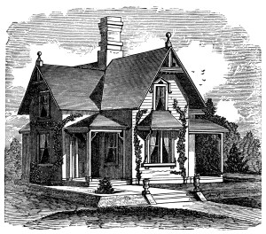 antique house illustration, black and white clipart, old fashioned cottage, Victorian house image, vintage home clip art