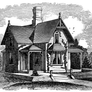 Story and a Half Victorian Home ~ Free Clip Art