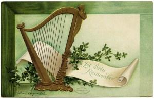St Patrick's Day postcard, let erin remember, Ellen Clapsaddle, vintage postcard printable, free vintage ephemera, Irish harp shamrock clip art