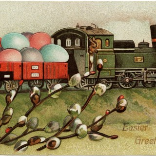 Easter Bunny Train ~ Free Vintage Image