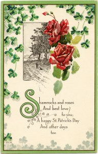 St Patrick's Day postcard, shamrocks and roses clip art, vintage postcard printable, free vintage ephemera, floral digital postcard